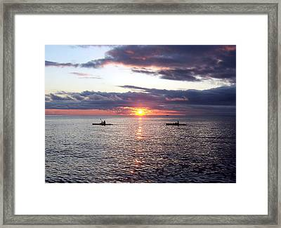 Kayaks At Sunset Framed Print