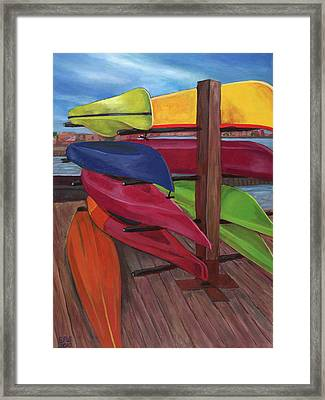 Kayak's At Tide Point Framed Print by Edward Williams