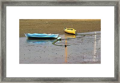 Kayaks-blue And Yellow Framed Print