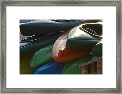 Framed Print featuring the photograph Kayaks For Rent by Arthur Dodd