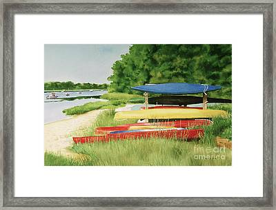 Framed Print featuring the painting Kayaks In Limbo by Karol Wyckoff