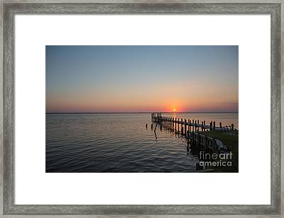 Kayaks In Sunset Framed Print by Kay Pickens