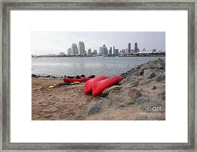 Kayaks On Coronado Island Overlooking The San Diego Skyline 5d24368 Framed Print