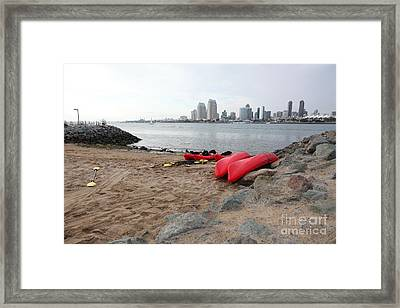 Kayaks On Coronado Island Overlooking The San Diego Skyline 5d24369 Framed Print