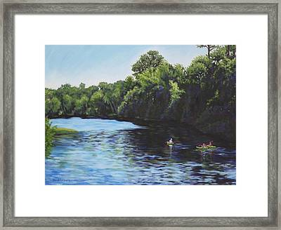 Kayaks On Rainbow River Framed Print by Penny Birch-Williams