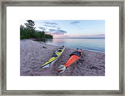 Kayaks On Sand Beach At York Island Framed Print