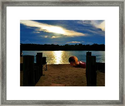 Framed Print featuring the photograph Kayaks On The Beach At Dusk by Pamela Blizzard