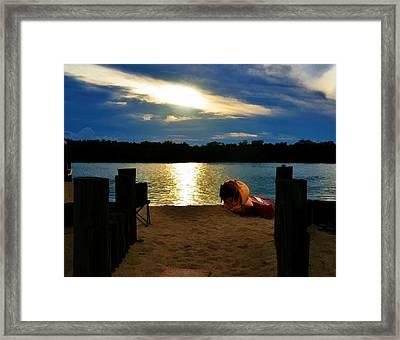 Kayaks On The Beach At Dusk Framed Print by Pamela Blizzard