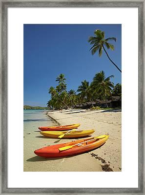 Kayaks On The Beach, Plantation Island Framed Print
