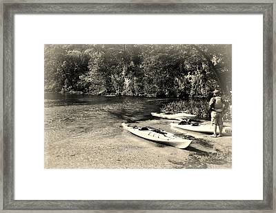 Kayaks On The Current Framed Print by Marty Koch