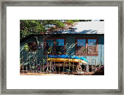 Kayaks Surfboards And Bikes - The Good Life Framed Print by Paulette B Wright