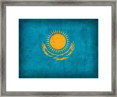 Kazakhstan Flag Vintage Distressed Finish Framed Print by Design Turnpike