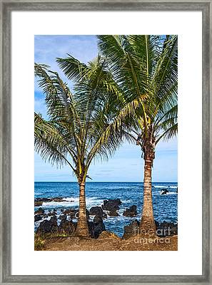 Keanae Palms - The Rugged Volcanic Coast Of The Keanae Peninsula In Maui. Framed Print by Jamie Pham