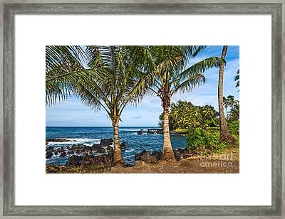 Keanae Paradise - The Rugged Volcanic Coast Of The Keanae Peninsula In Maui. Framed Print by Jamie Pham