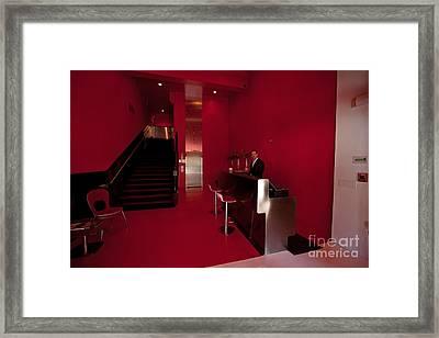Keaton Hotel Desk Framed Print by Russell Christie