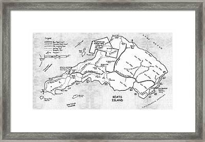 Keats Island Map - Canadian Island  Framed Print by Sharon Cummings