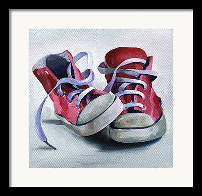 Gray And Red Shoes Framed Prints