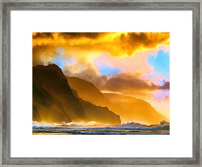 Ke'e Beach Sunset Framed Print