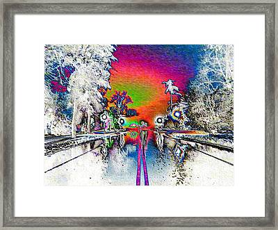 Keeneland Entrance In Neon Framed Print by Christopher Hignite