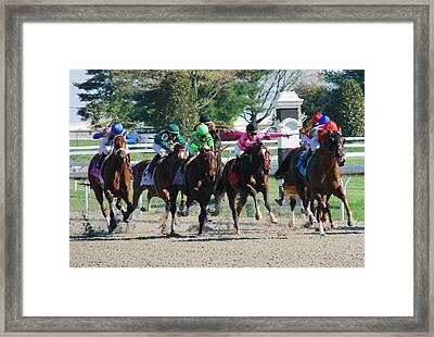 Keeneland Run Framed Print by Mia Capretta