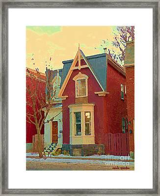 Keep A Light In The Window Til I Come Home Again Winter House Pointe St Charles City Scene Cspandau  Framed Print by Carole Spandau