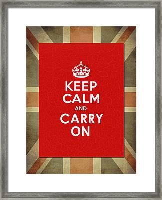 Keep Calm And Carry On Framed Print by Mark Rogan