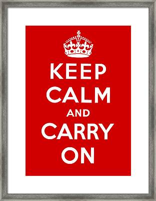 Framed Print featuring the painting Keep Calm And Carry On by Pam Neilands