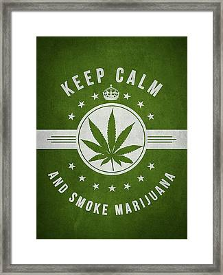 Keep Calm And Smoke Marijuana - Green Framed Print by Aged Pixel