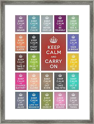 Keep Calm Classic Collage Framed Print by Helena Kay