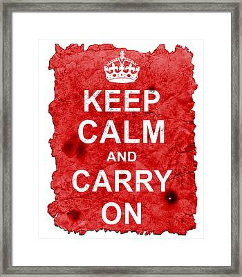 Framed Print featuring the digital art Keep Calm Poster Torn by Nik Helbig