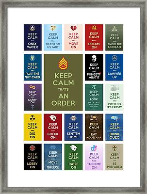 Keep Calm ...with A Bite Collage Framed Print by Helena Kay