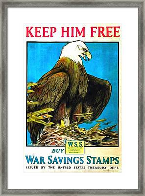 Keep Him Free Framed Print by US Army WW 1 Recruiting Poster