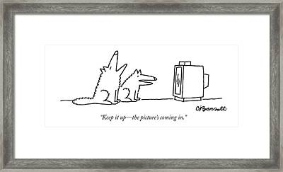 Keep It Up - The Picture's Coming In Framed Print by Charles Barsotti