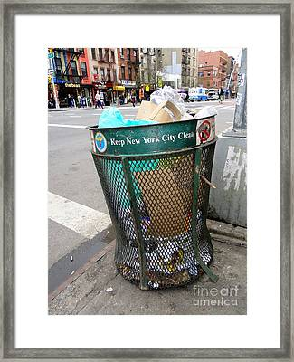 Keep Nyc Clean Framed Print by Ed Weidman