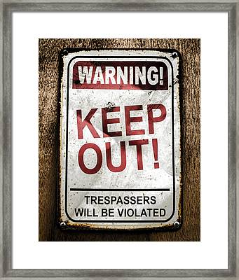 Keep Out Framed Print by Heather Applegate
