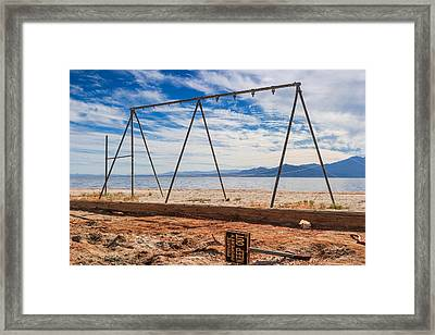 Keep Out No Playing Here Swing Set Playground Framed Print by Scott Campbell