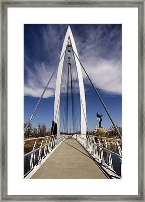 Keeper Of The Plains Bridge View Framed Print