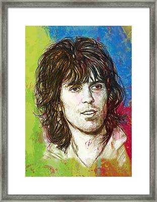 Keith Richards Stylised Pop Art Drawing Potrait Poster Framed Print by Kim Wang