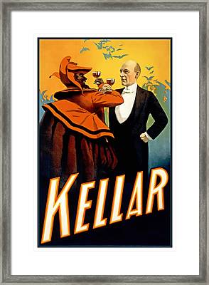 Kellar Toasts The Devil Framed Print