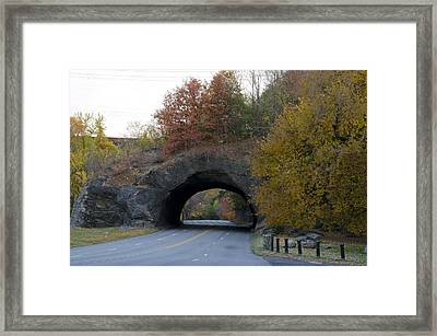 Kelly Drive Rock Tunnel In Autumn Framed Print by Bill Cannon