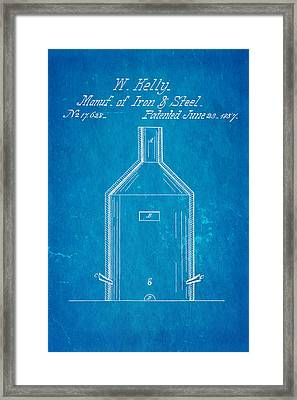 Kelly Iron And Steel Patent Art 1857 Blueprint Framed Print by Ian Monk