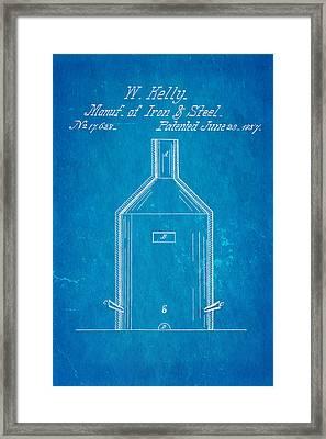 Kelly Iron And Steel Patent Art 1857 Blueprint Framed Print
