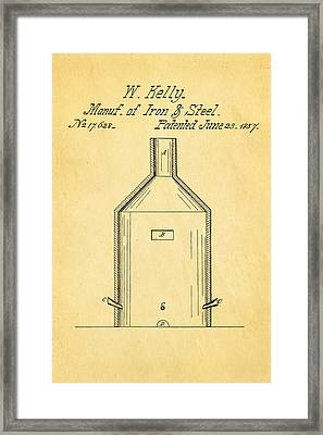 Kelly Iron And Steel Patent Art 1857 Framed Print by Ian Monk