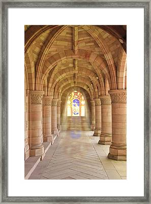 Kelso Abbey Stained Glass Framed Print