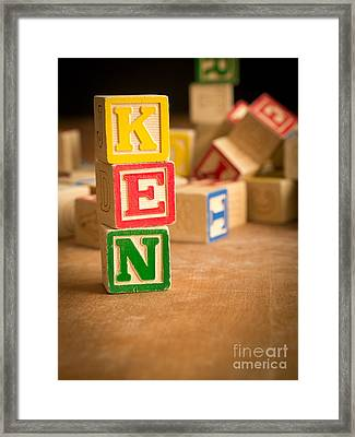 Ken - Alphabet Blocks Framed Print by Edward Fielding