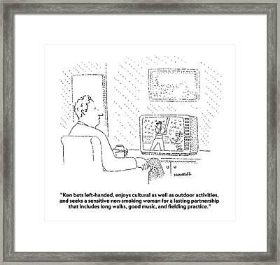 Ken Bats Left-handed Framed Print by Robert Mankoff