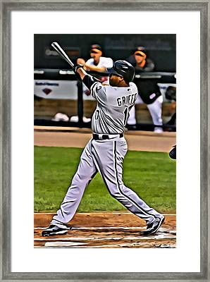 Ken Griffey Jr Painting Framed Print by Florian Rodarte