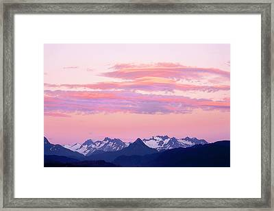 Kenai Mountains At Sunrise Framed Print by Tom Norring