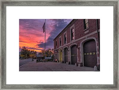 Kenmore Fire Hall Sunset Framed Print