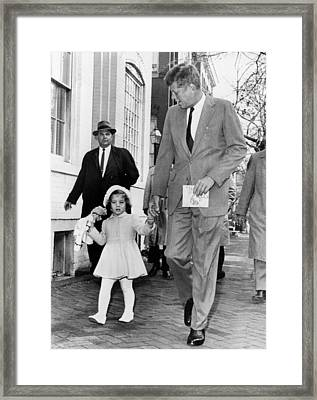 Kennedy And Daughter Caroline Framed Print by Underwood Archives